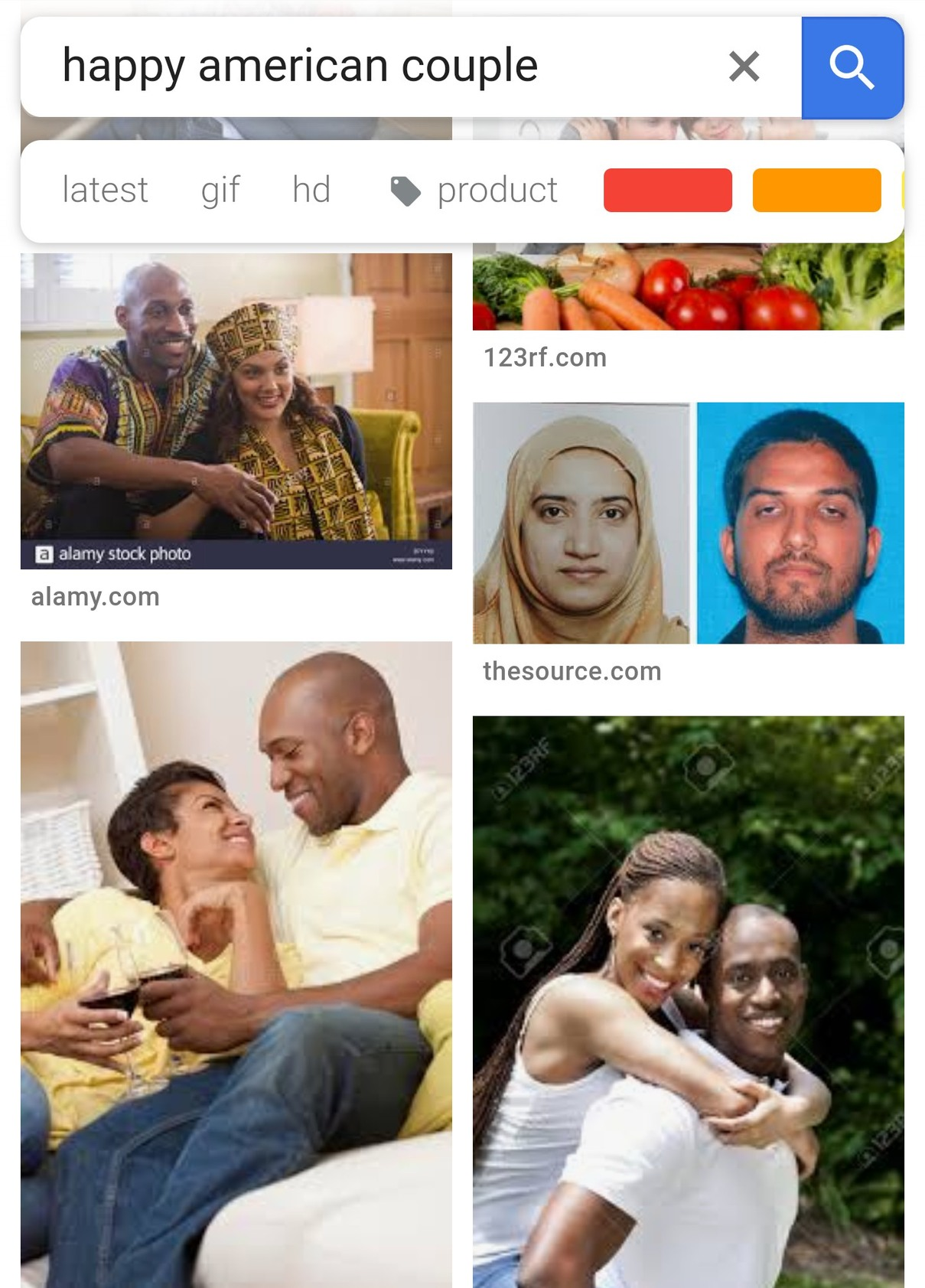 So i googled happy american couple and THIS happened. What the fuck google? - meme