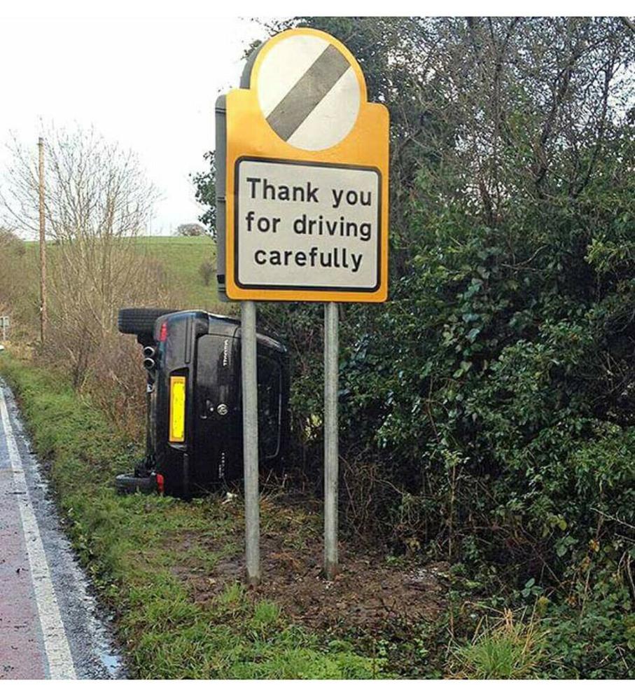 Obrigado por dirigir com cuidado - meme