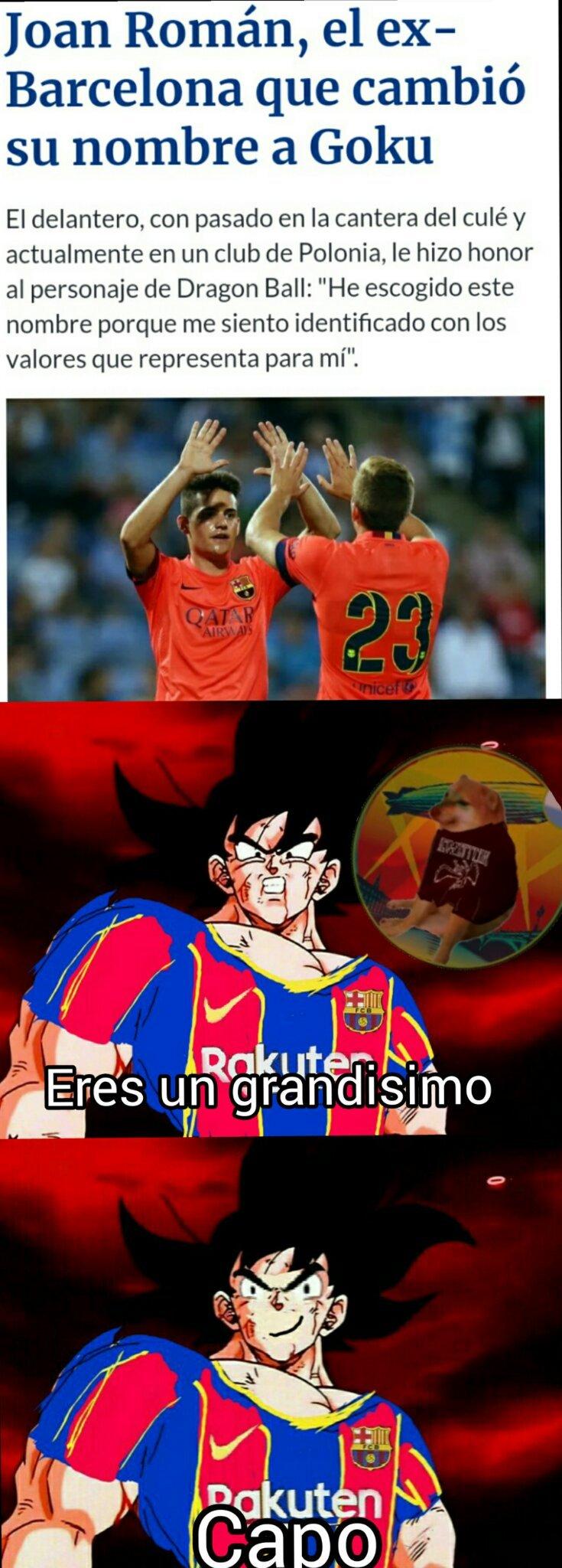 Goku es del Barca - meme
