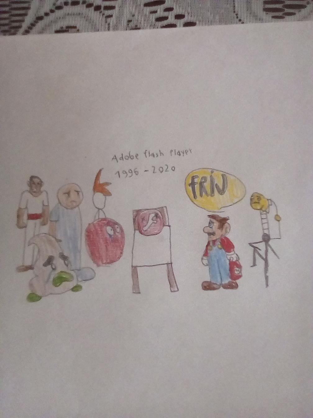 Señores y señoras este 31 de diciembre muere adobe flash playera así que le hice este tributo con este dibujo - meme