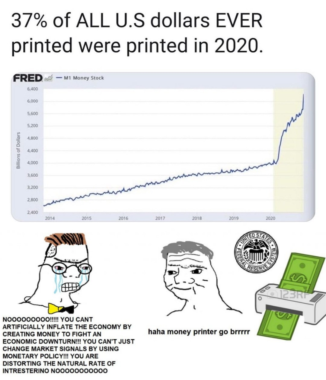 Money printing goes brrr - meme