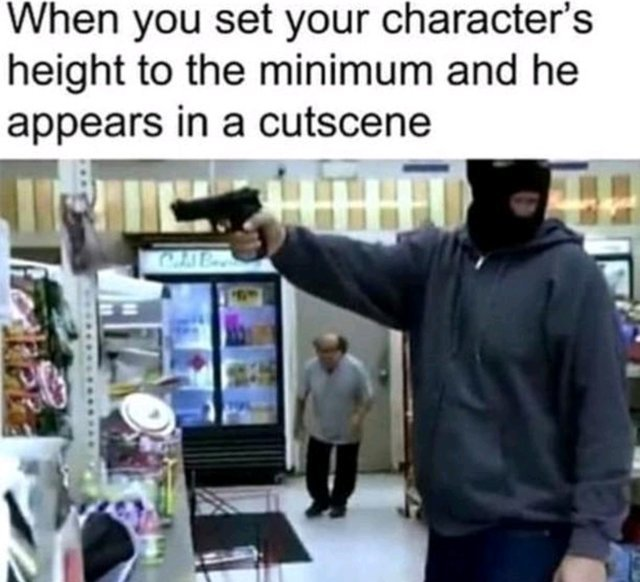 When you set your character's height to the minimum and he appears in a cutscene - meme