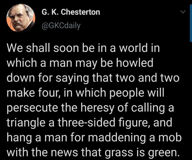 Chesterton... still relevant as ever - meme
