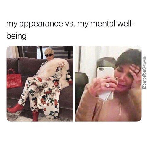 Appear ance vs wellbeing - meme