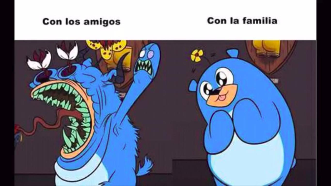 familia vs amigos - meme