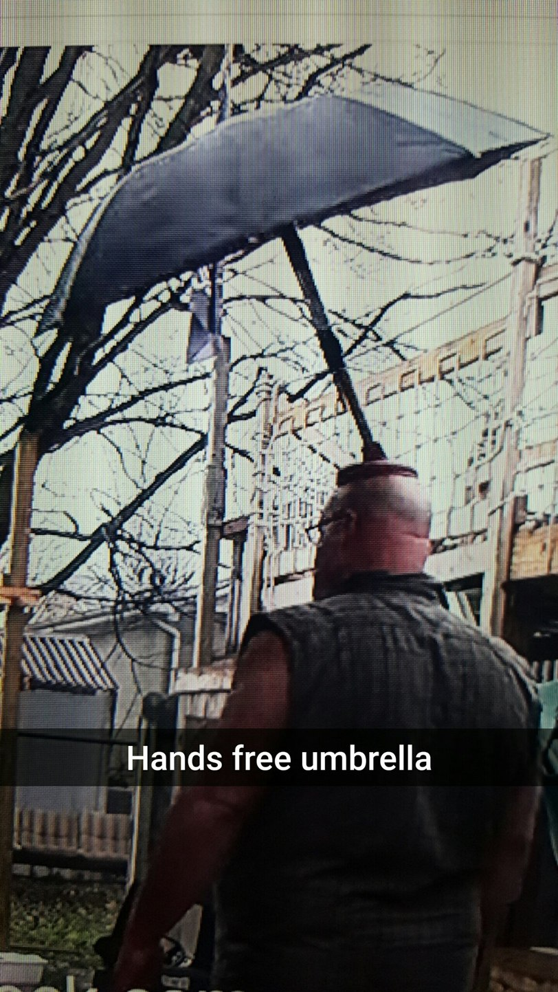 Plunger and umbrella and bald=problem solved - meme