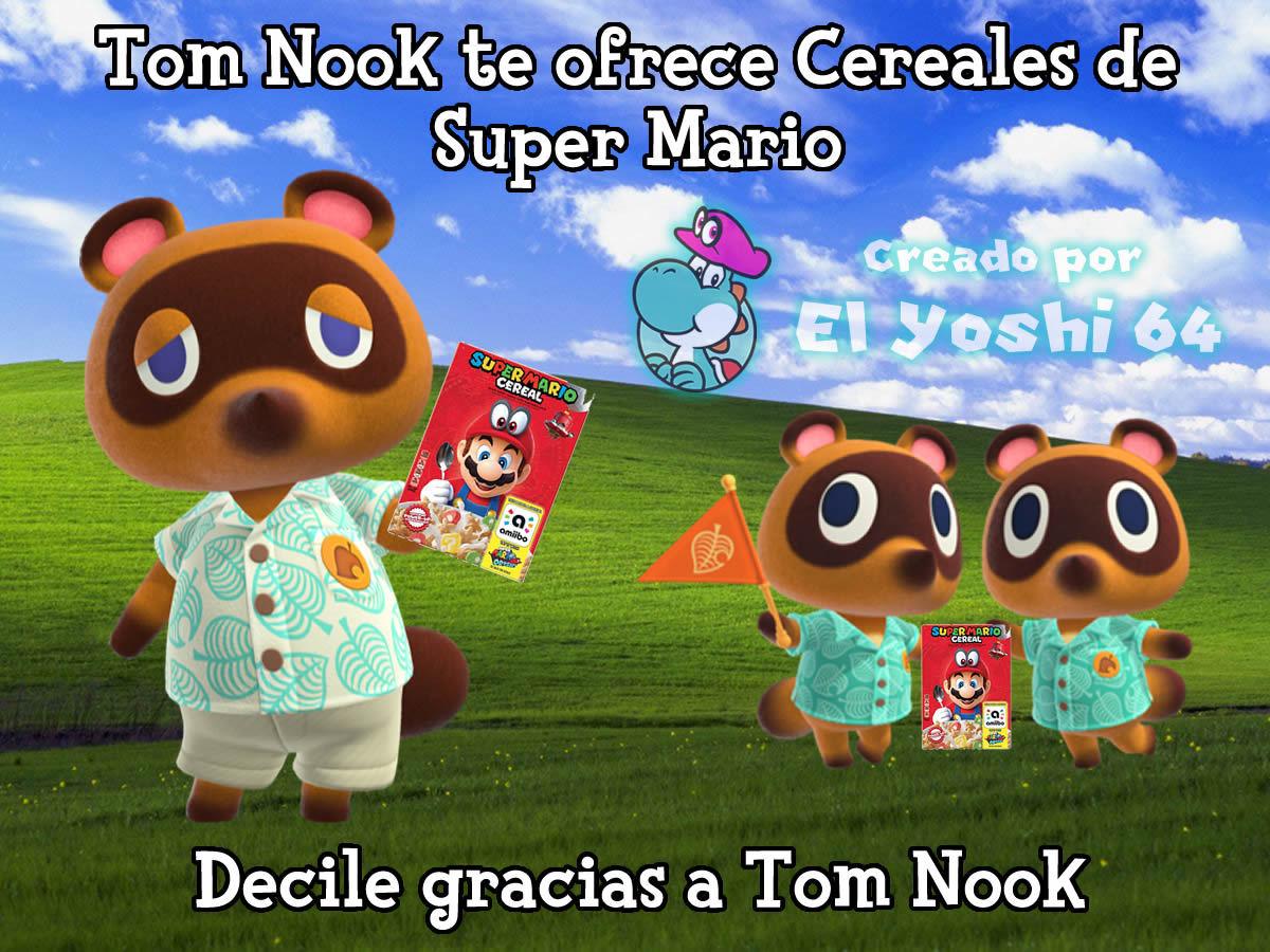 Gracias Tom Nook por ofrecerme cereales de Super Mario, ahi los disfruto con este meme