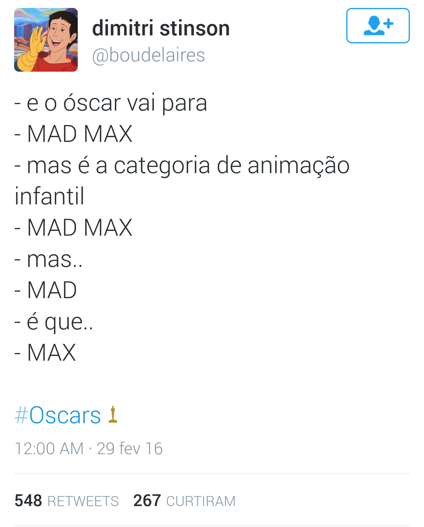 e o oscar vai para: MAD MAX - meme