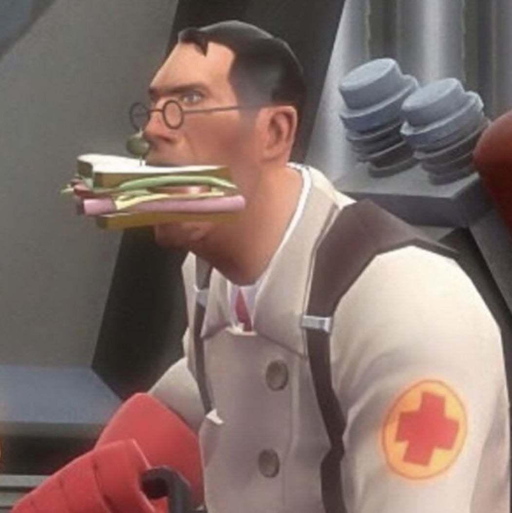 Medic comendo sanduba - meme