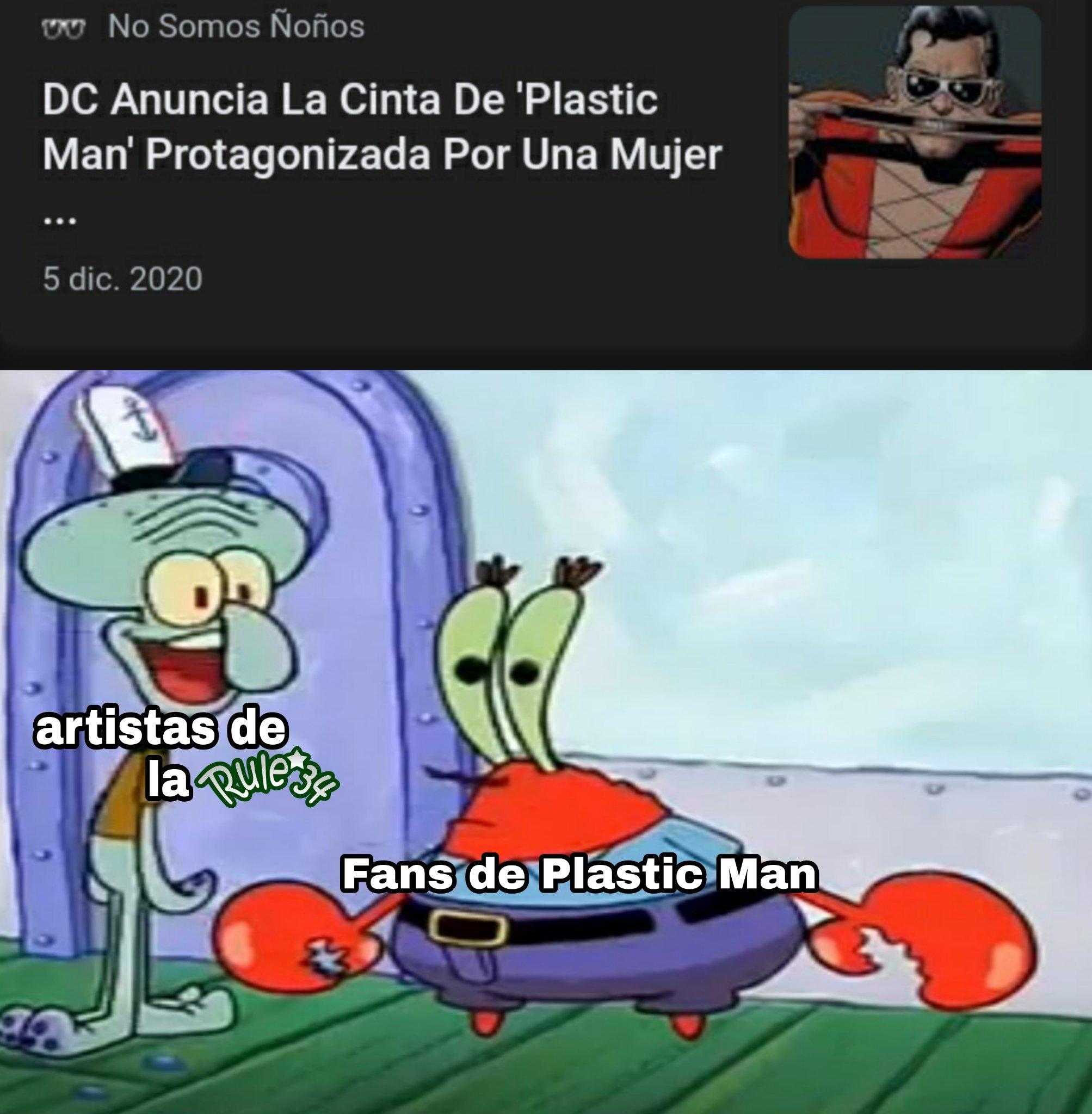 "Queria una peli del hombre plastico pero asi no (postdata: me hice fan del personaje gracias a la serie ""Batman el valiente"" :nordic: ) - meme"