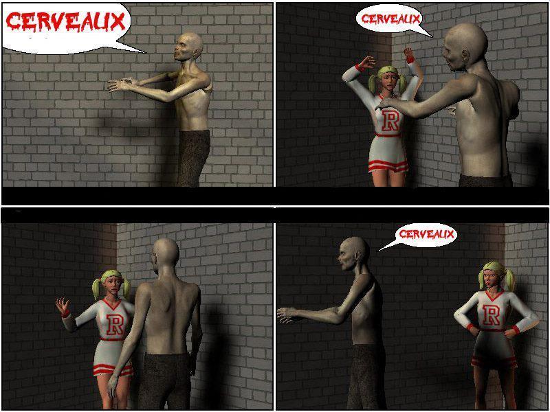 cerveau, blonde et zombie hhh - meme