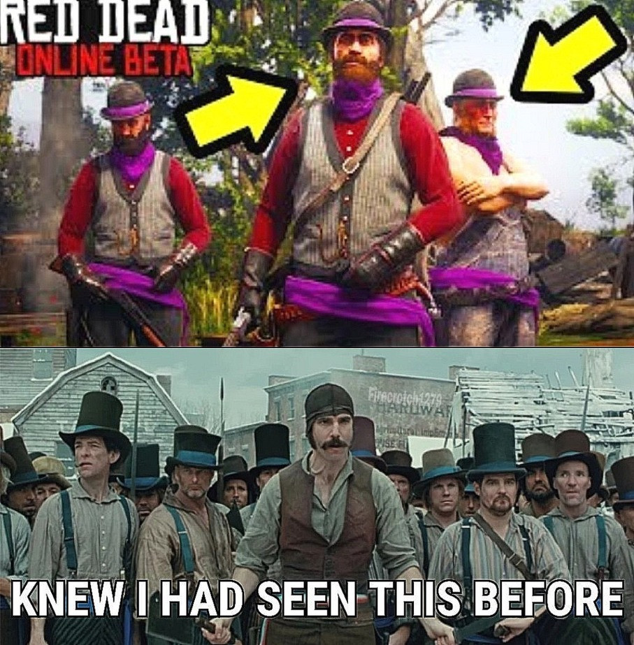 Red dead online = Gangs of New York - meme