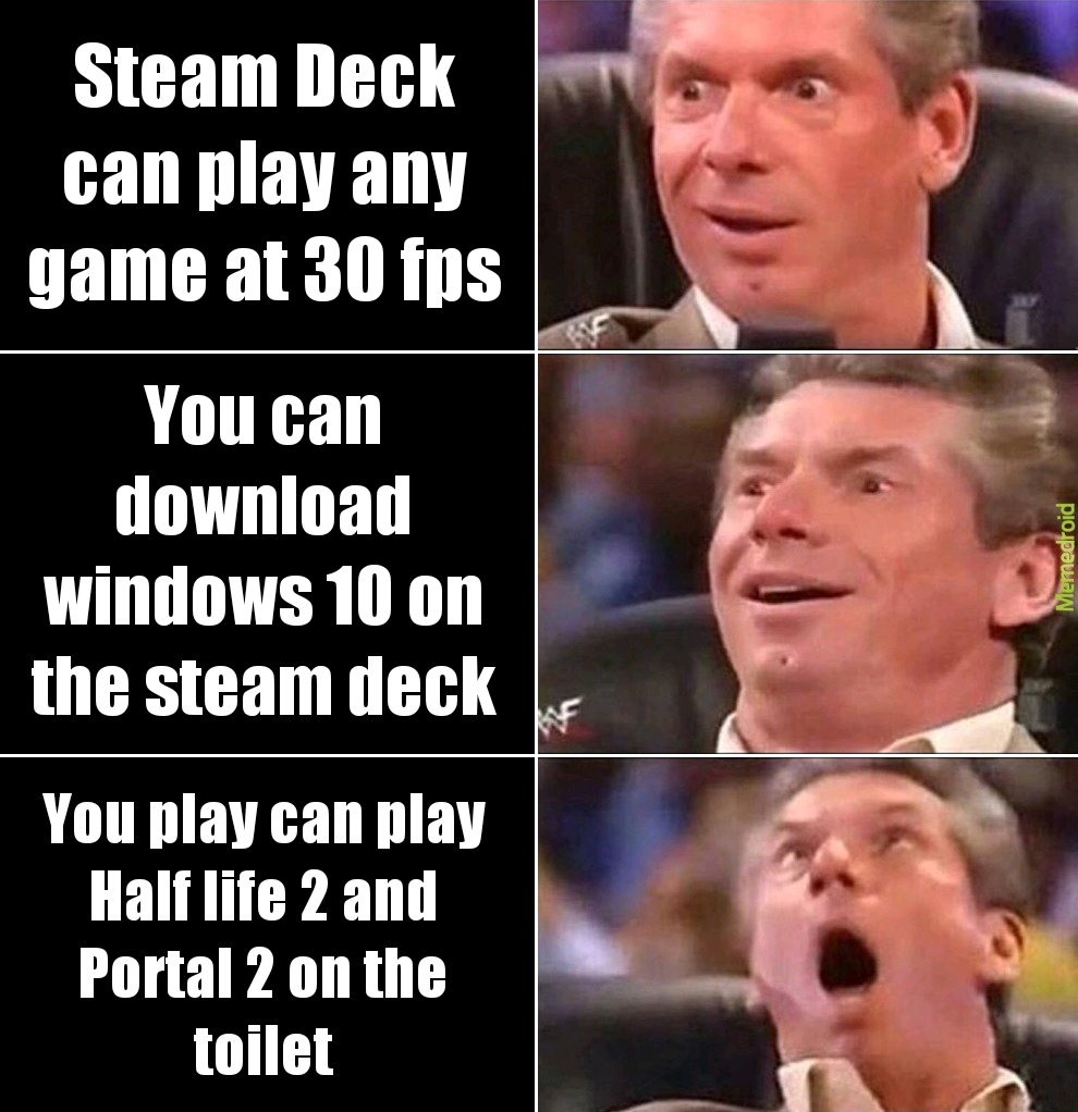 Me looking at the new Steam Deck - meme