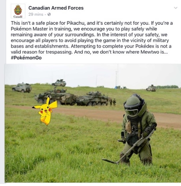 Pokemon are the new weapon of Canadian Military - meme