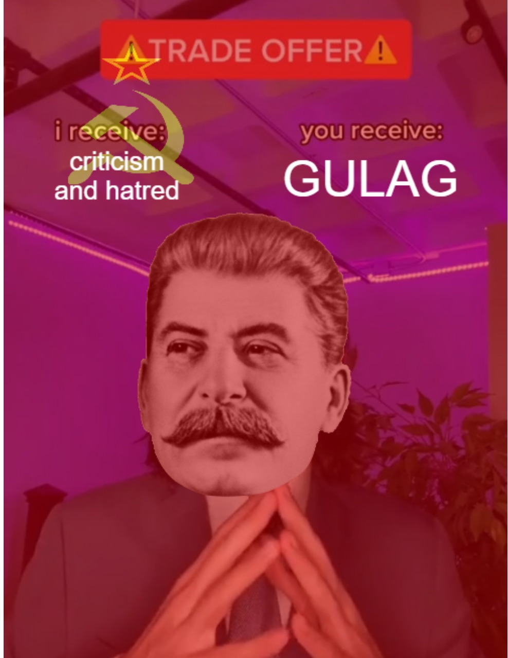 if you downvote this you go to GULAG - meme