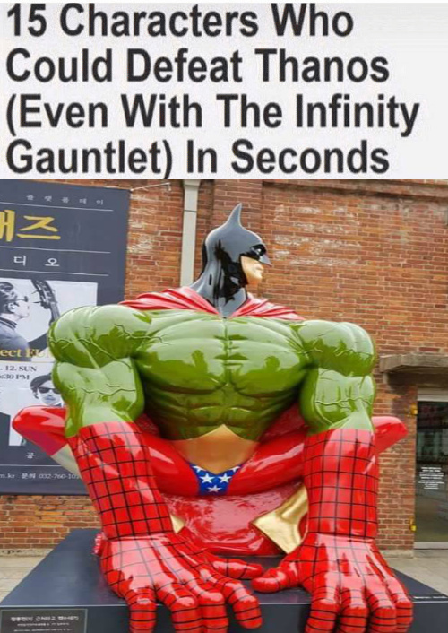 the amazing wonder-spider-iron-bat-hulk-man-woman - meme
