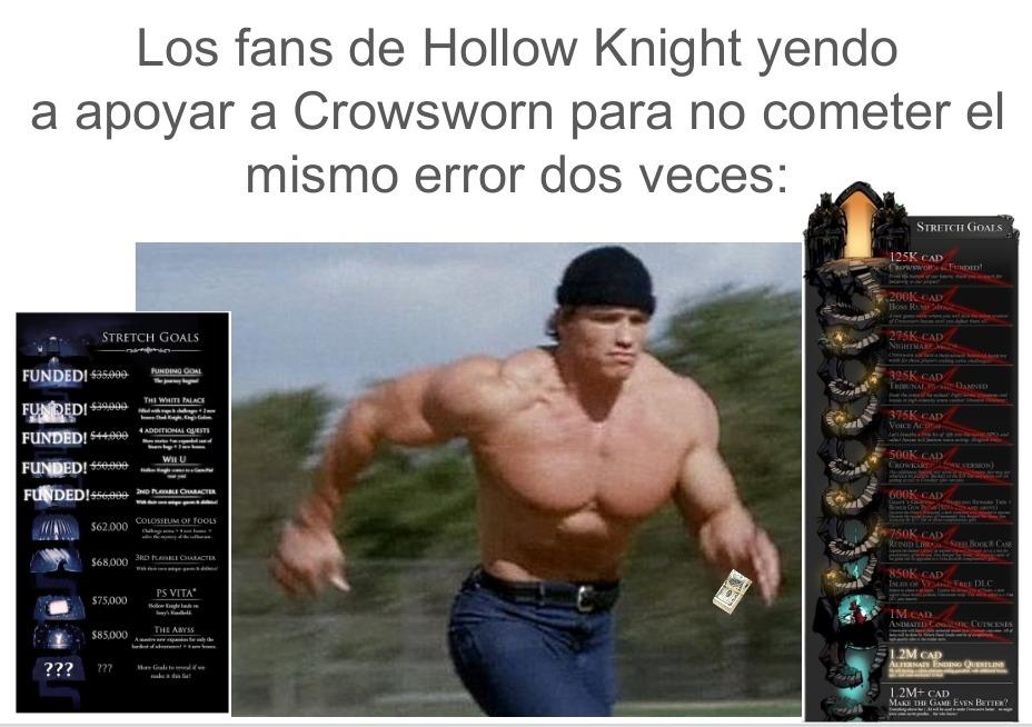 Contexto: Hollow Knight no logró llegar a la meta de recaudaciones y nos quedamos sin cosas interesantes. No cometeremos el mismo error. - meme