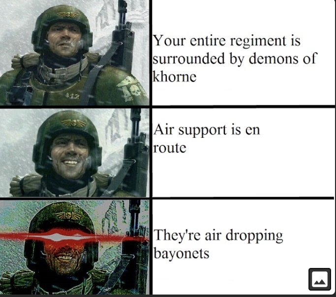 Las rifles, las cannons, Bolter, flammer < sharp piece of metal on the barrel of your gun - meme