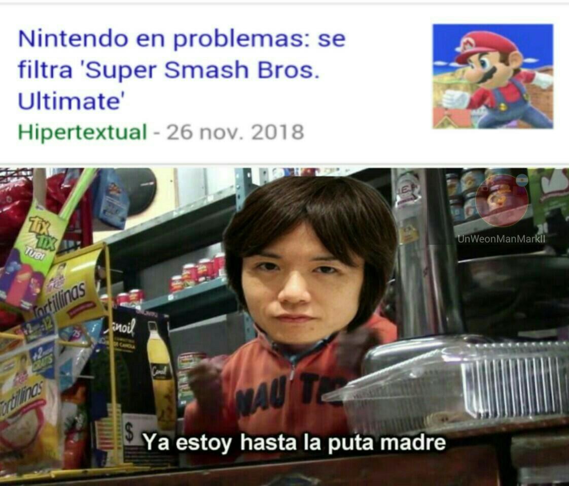 (Es el creador de Super smash bros) Ya van dos veces - meme