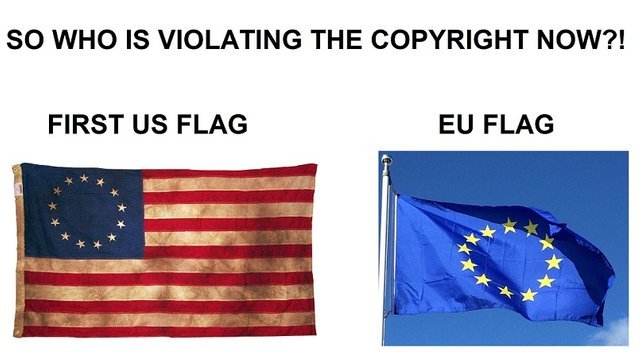 The European flag is commiting a copyright violation - meme