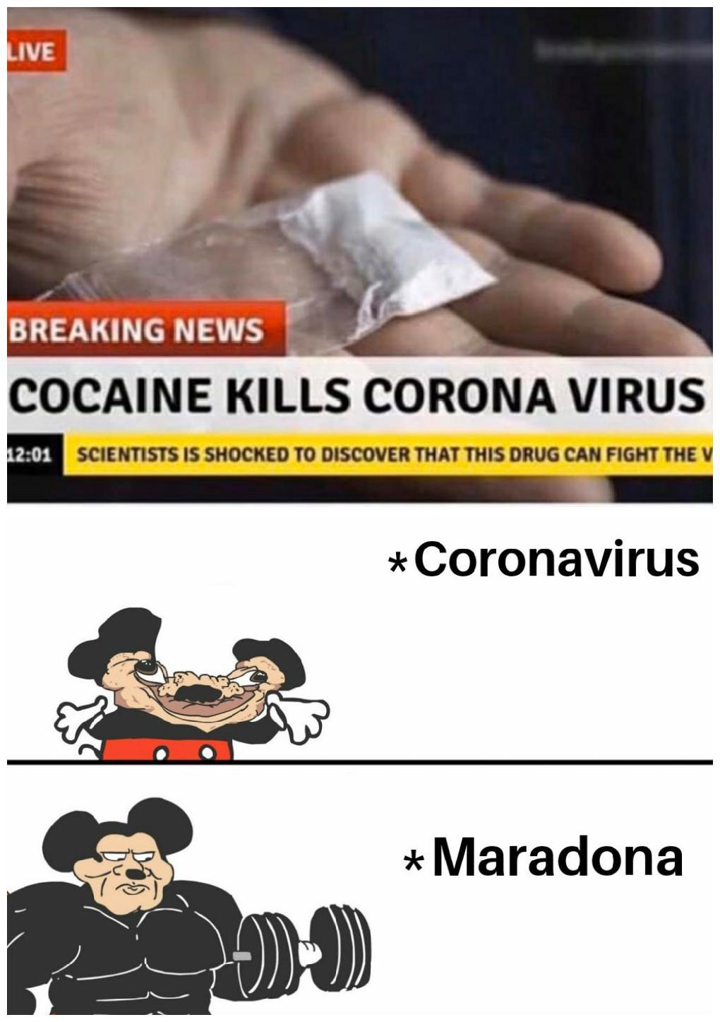 Maradona le rompe el ogt al Coronavirus - meme