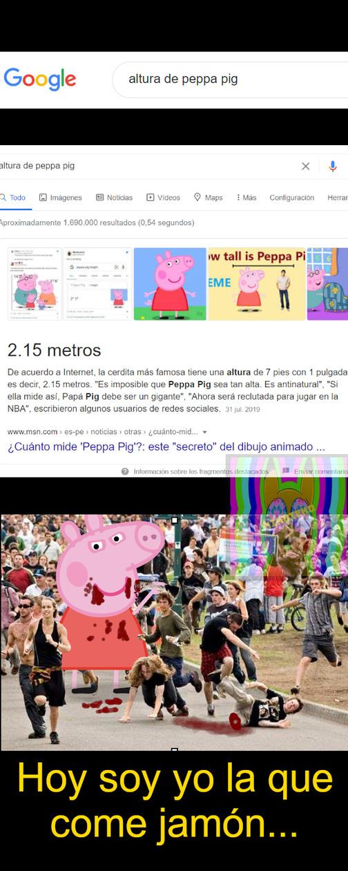 """El ataque de la """"Inocente"""", pero gigante y carnivora put* devorahumanos Peppa Pig - meme"""