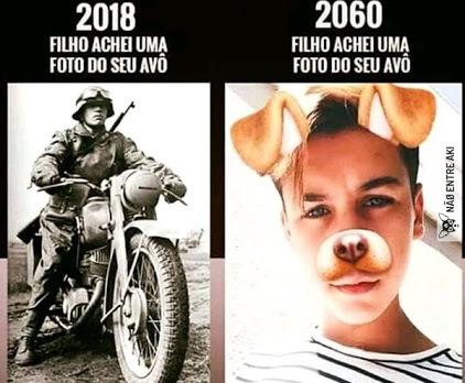 Gerações futuras terão vergonha do passado - meme