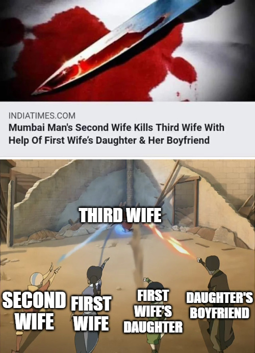 Mumbai man's second wife kills third wife with help of first wife's daughter and her boyfriend - meme