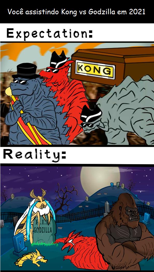 Kong vs Godzilla em 2021 - meme