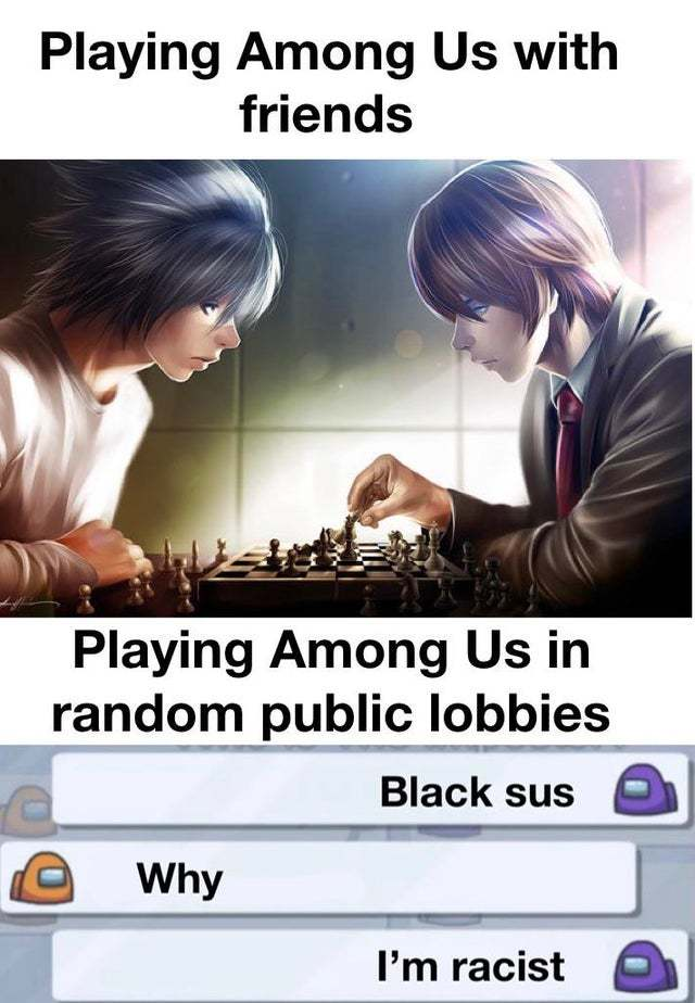 Playing among us with friends - meme