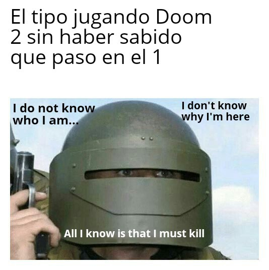 En el final de Doom 1 Doomguy mata al hombre morado - meme