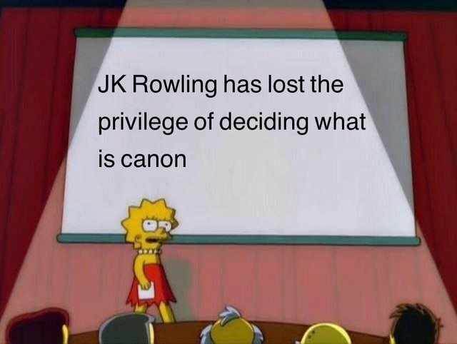 JK Rowling has lost the privilege of deciding what is canon - meme