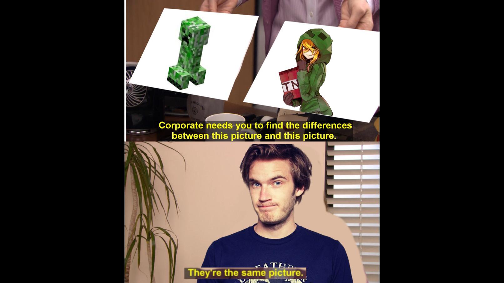 Pewdiepie X Creeper - meme