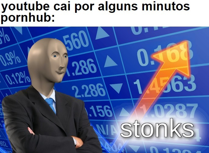youtube caiu, pornerabe nos salva - meme