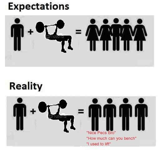 Gym: expectations vs reality - meme