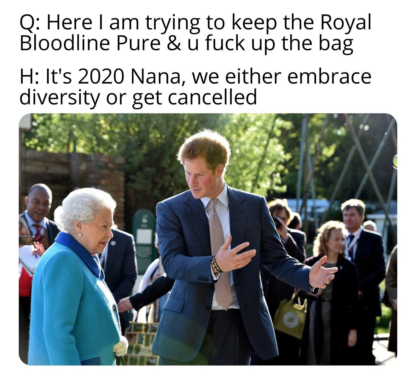 Queen roasts Harry - meme