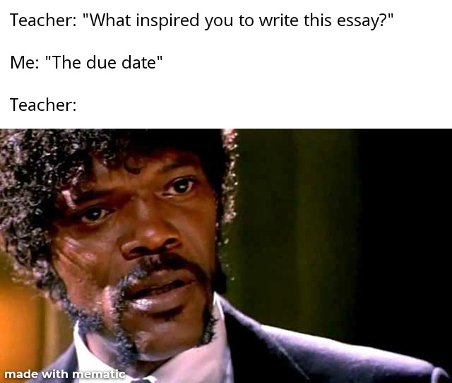 What inspired you to write this essay? - meme