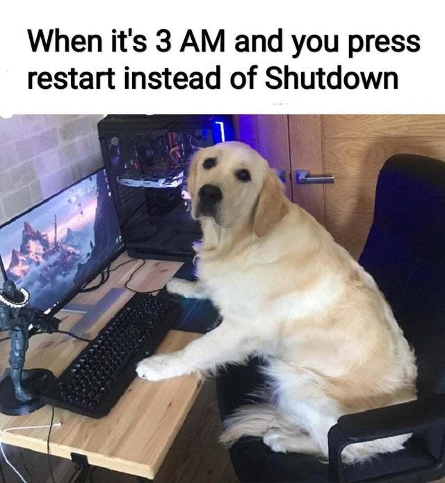 When it's 3 am and you press restart instead of shutdown - meme