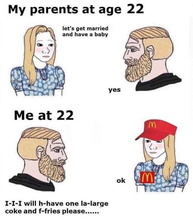 My parents at age 22 - meme