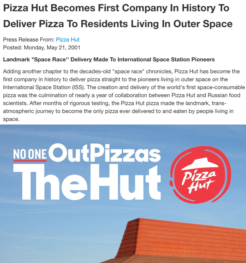No one out pizzas the hut - meme