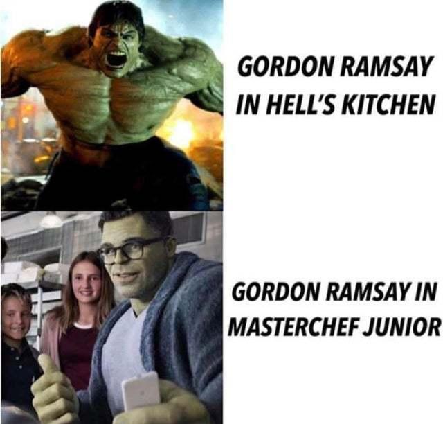 Gordon Ramsay in hell's kitchen vs Gordon Ramsay in Masterchef junior - meme