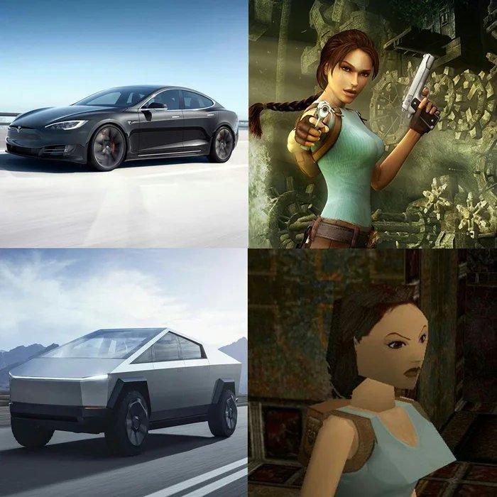 Tesla croft, not curvy - meme