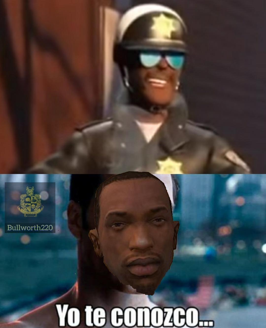 El poli negro motociclista de gta san andreas en jefe en pañales 2 - meme