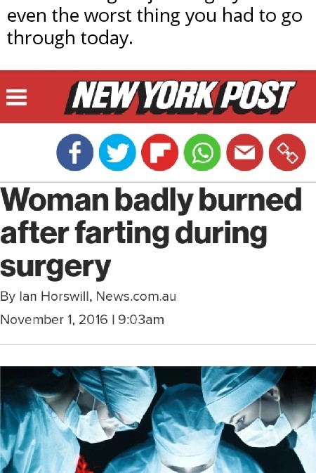 It was vaginal surgery being done with a laser, if you're wondering how it happened. - meme