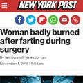 It was vaginal surgery being done with a laser, if you're wondering how it happened.