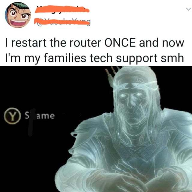 I restarted the router once and now I'm my familie's tech support - meme