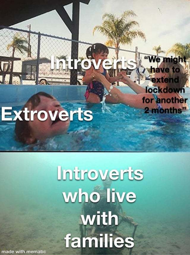 Introverts who live with families - meme