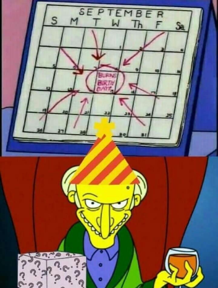 Feliz cumpleaños, Señor Burns - meme