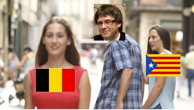 Puugdemont cambio de sede social a Belgica - meme