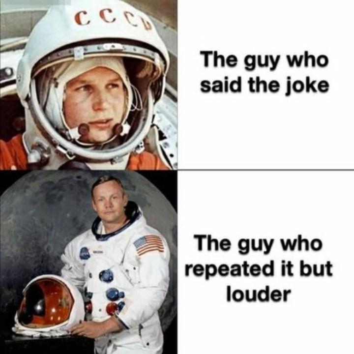 """""""O cara que fez a piada"""" // """"O cara que repitiu mais alto"""" - meme"""